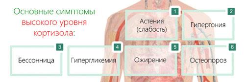 Симптомы и проявления повышенного кортизола