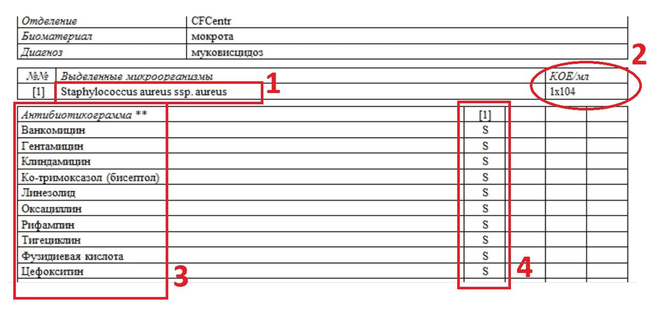 Анализ мочи посев чувствительность нормы показателей общего анализа крови таблица